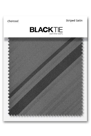 Charcoal Striped Satin Fabric Swatch