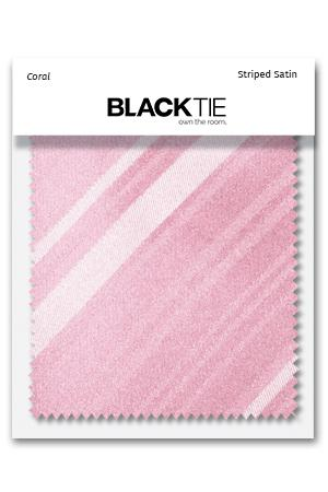 Coral Striped Satin Fabric Swatch