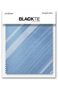 Cornflower Striped Satin Fabric Swatch