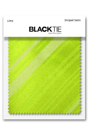 Lime Striped Satin Fabric Swatch