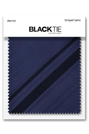 Marine Striped Satin Fabric Swatch