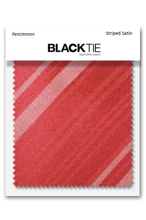 Persimmon Striped Satin Fabric Swatch