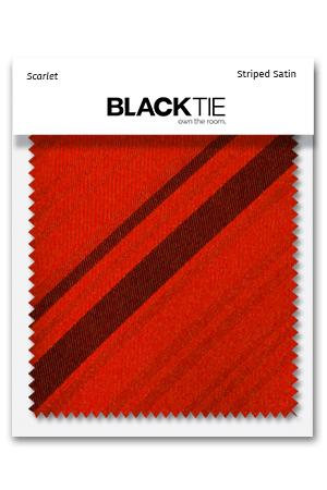 Scarlet Striped Satin Fabric Swatch