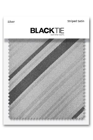 Silver Striped Satin Fabric Swatch
