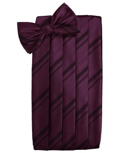 Berry Striped Satin Cummerbund