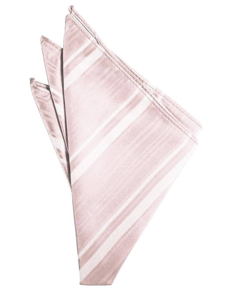Blush Striped Satin Pocket Square
