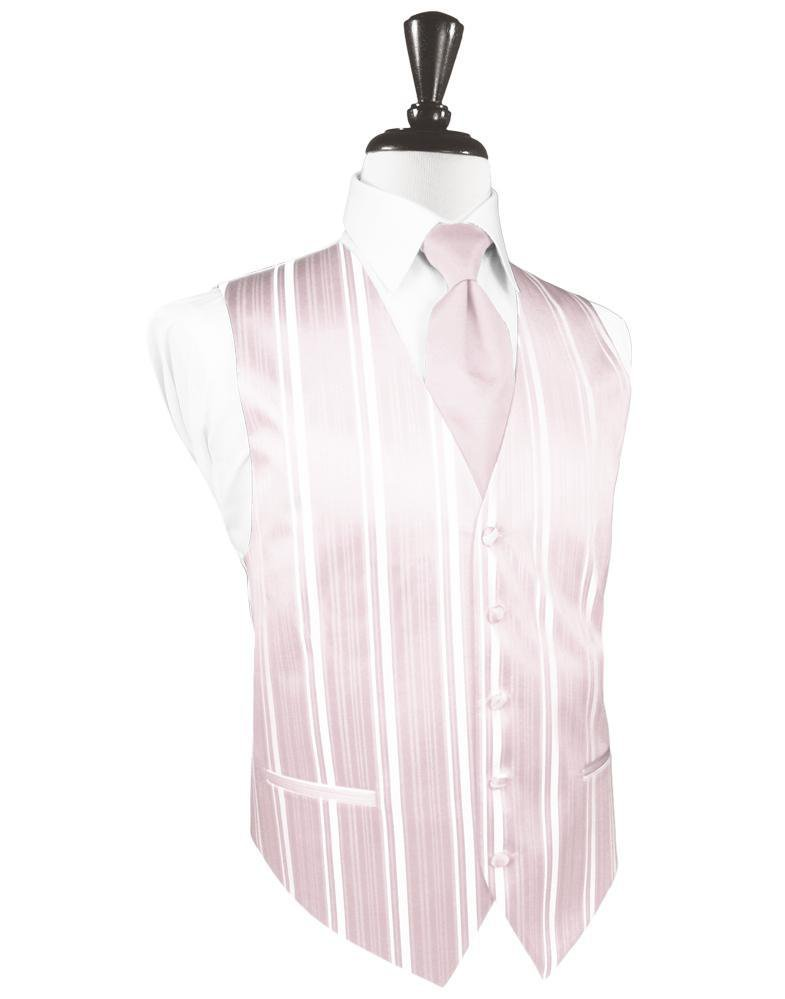 Blush Striped Satin Tuxedo Vest