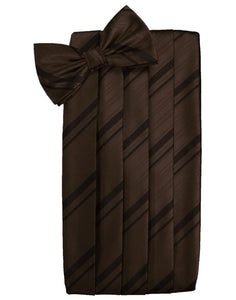 Chocolate Striped Satin Cummerbund