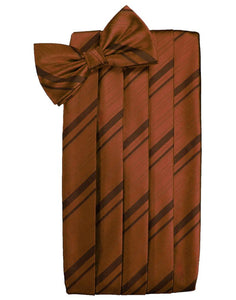 Cognac Striped Satin Cummerbund