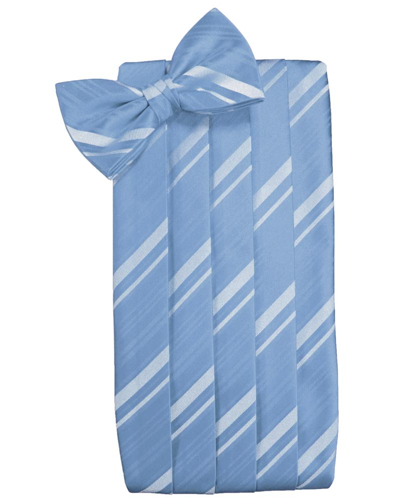 Cornflower Striped Satin Cummerbund