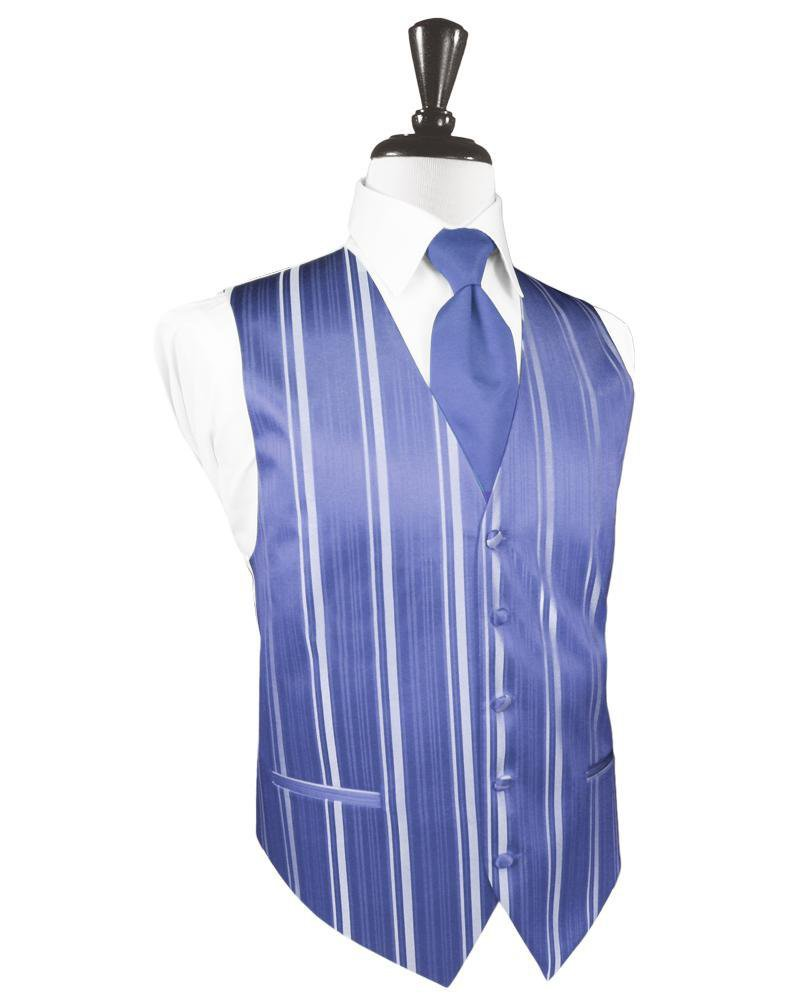 Cornflower Striped Satin Tuxedo Vest