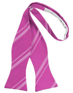 Fuchsia Striped Satin Bow Tie
