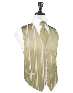 Golden Striped Satin Tuxedo Vest