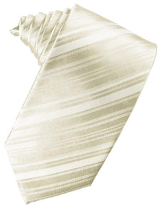 Ivory Striped Satin Necktie