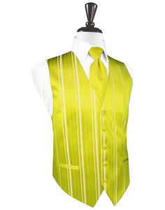 Lemon Striped Satin Tuxedo Vest