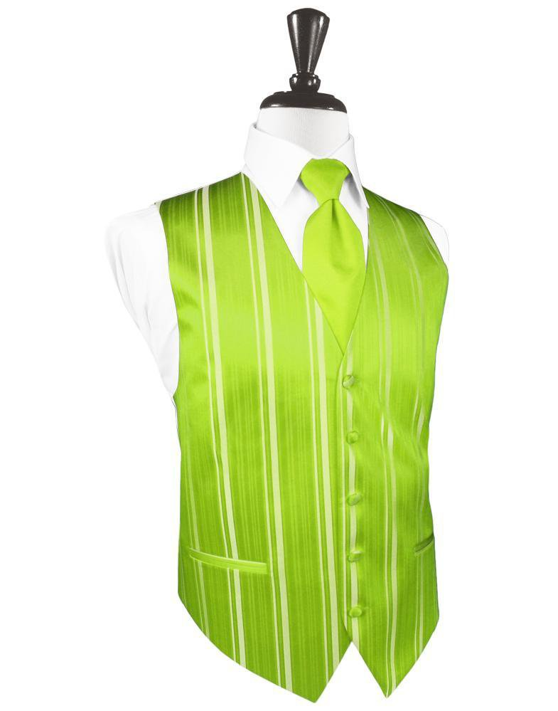 Lime Striped Satin Tuxedo Vest