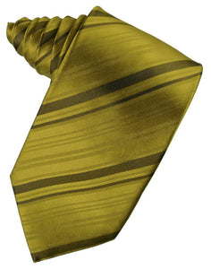 New Gold Striped Satin Necktie