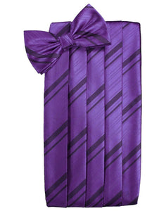 Purple Striped Satin Cummerbund