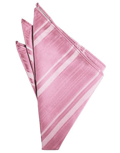 Rose Petal Striped Satin Pocket Square
