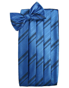 Royal Blue Striped Satin Cummerbund