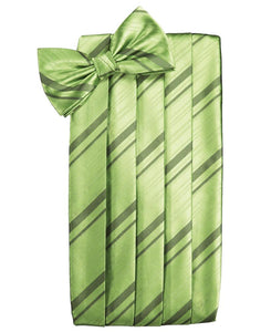 Sage Striped Satin Cummerbund