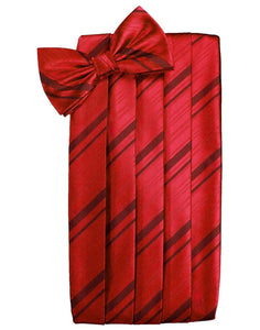 Scarlet Striped Satin Cummerbund