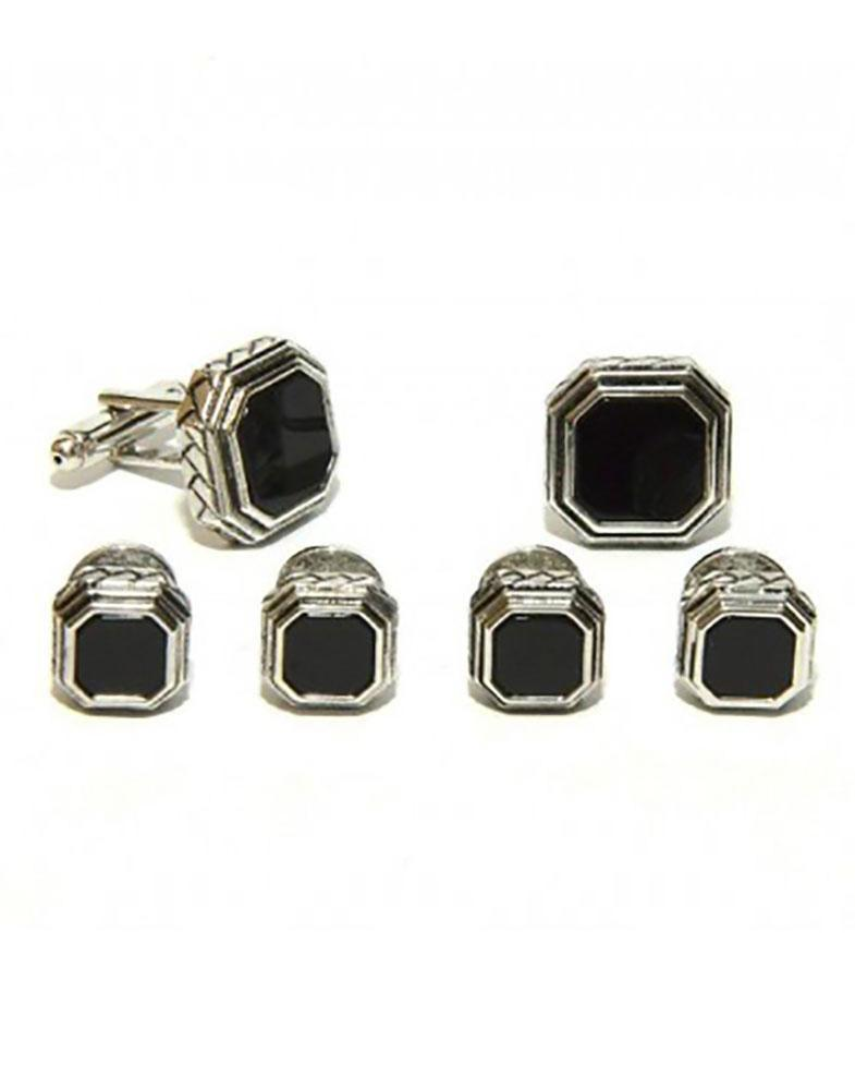 Black Octagon Onyx in Antique Silver Setting Studs & Cufflinks Set