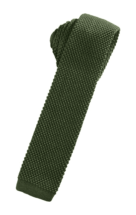 Army Green Silk Knit Necktie