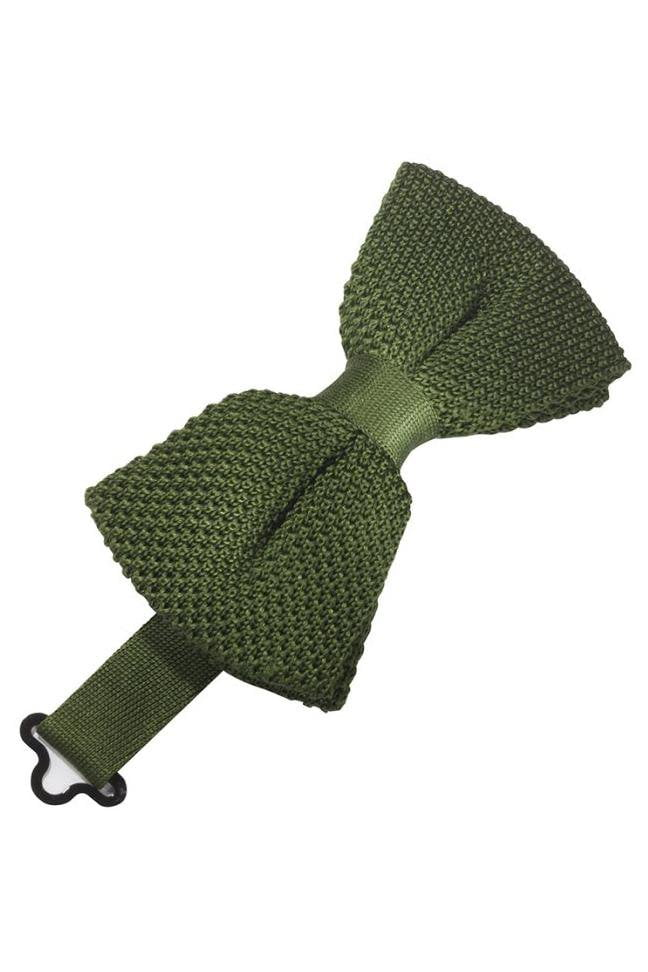 Army Green Silk Knit Bow Tie
