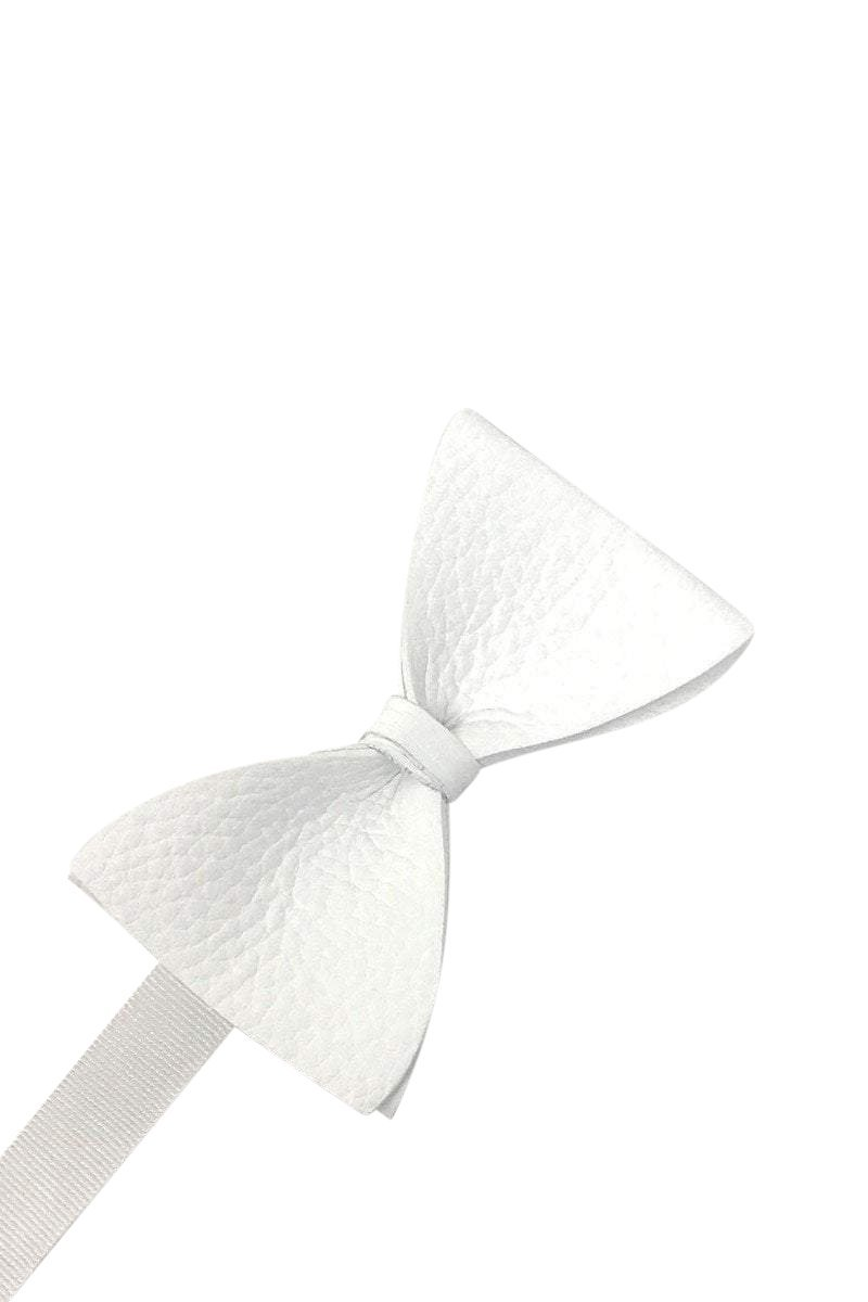 White Textured Leather Bow Tie