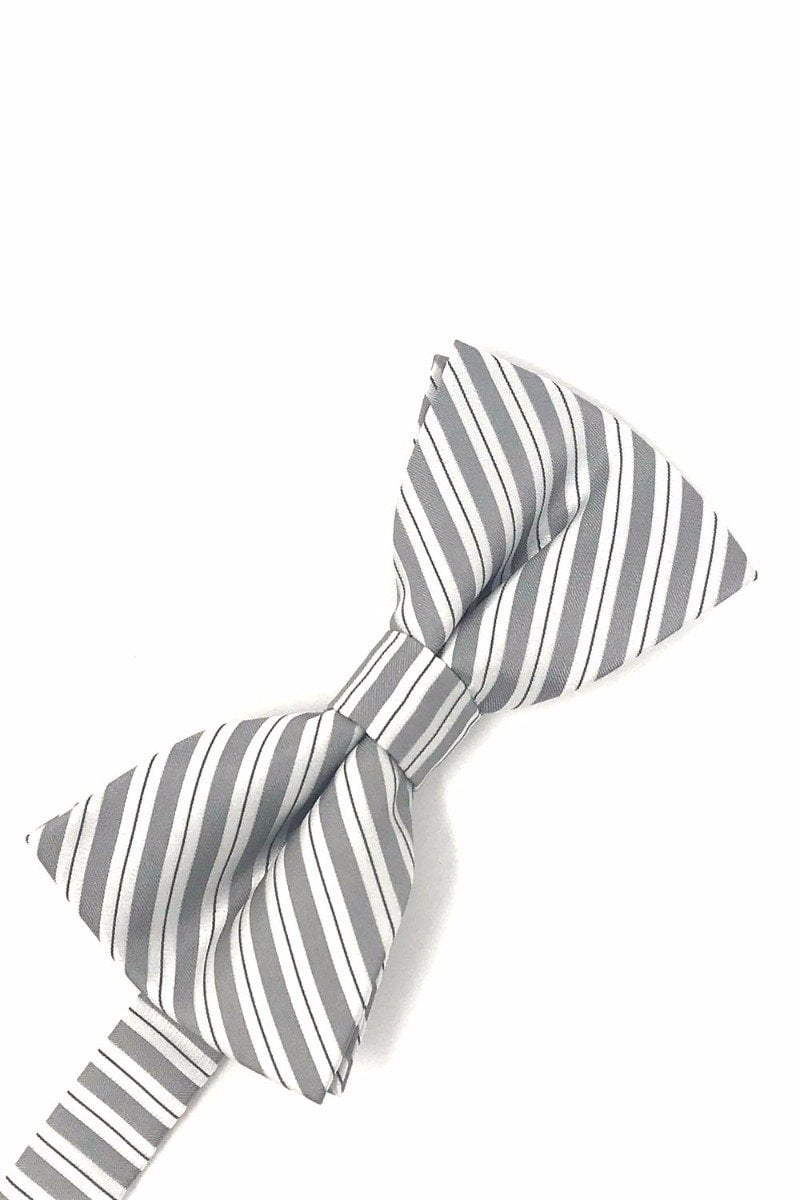 Grey Newton Stripe Bow Tie