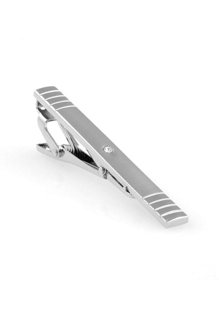 Brushed Silver with Center Crystal Premium Tie Bar