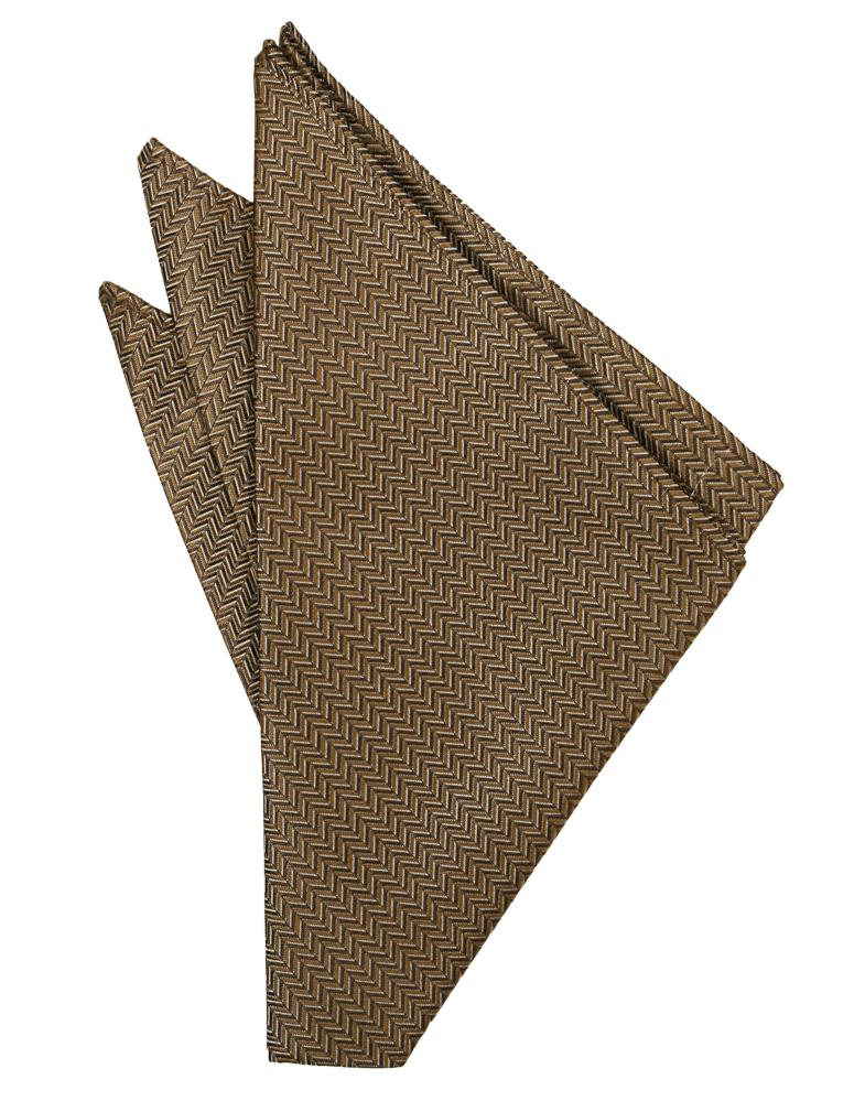 Mocha Herringbone Pocket Square