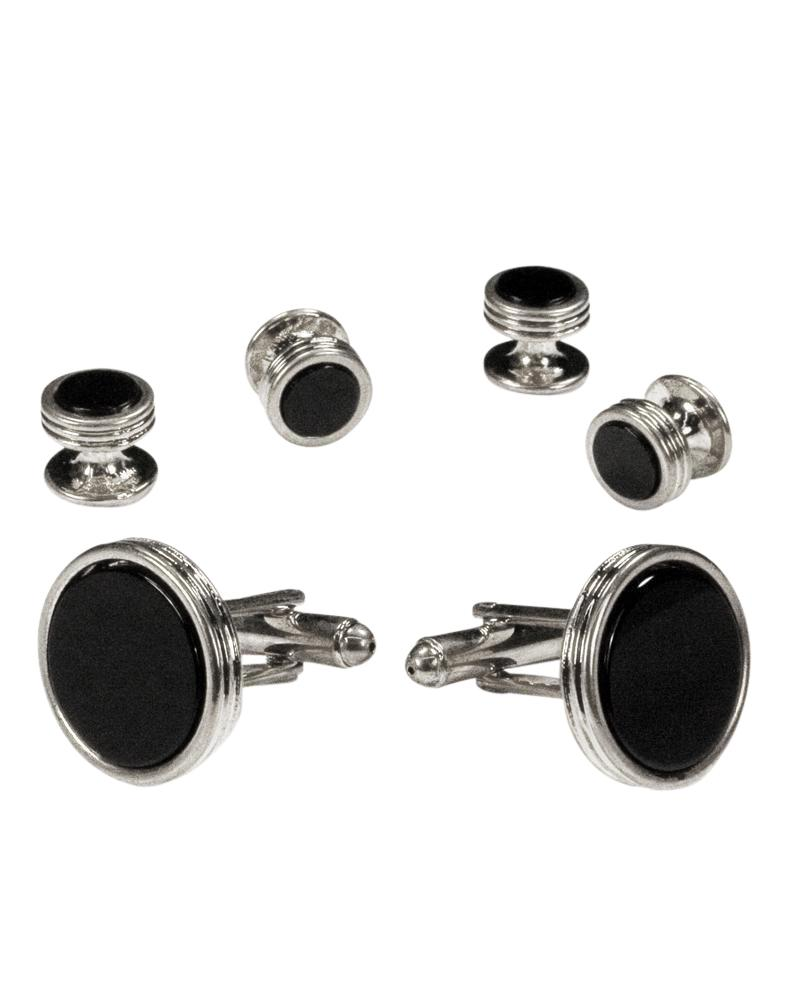 Black Circular Onyx with Silver Concentric Circles Studs & Cufflinks Set