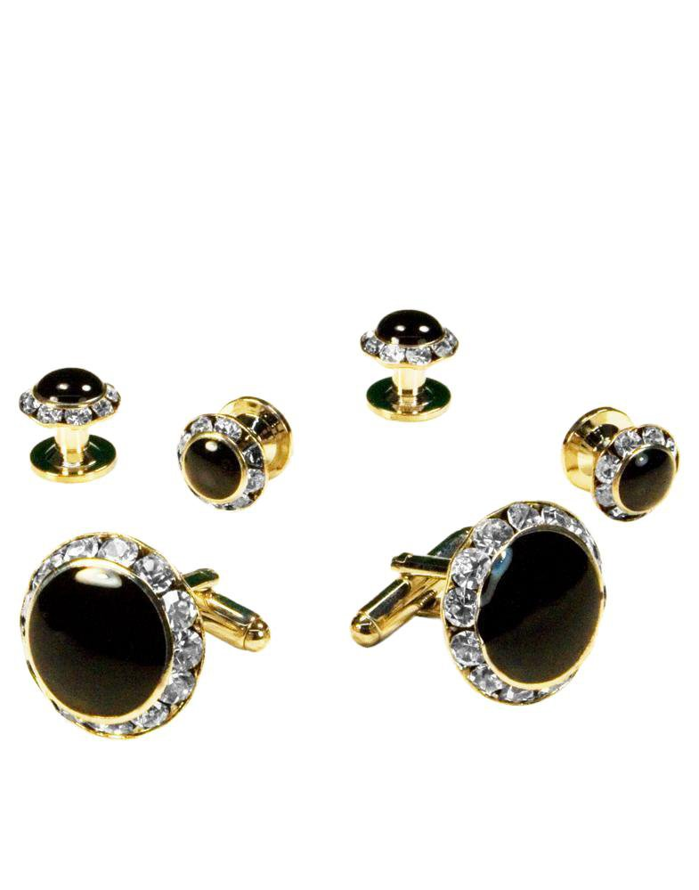 Black Circular Enamel with Rhinestones Gold Edge Studs & Cufflinks Set