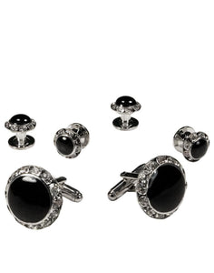 Black Circular Enamel with Rhinestones Silver Edge Studs & Cufflinks Set