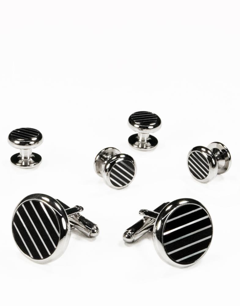 Black & White Circular Onyx and Mother of Pearl Mini-Stripes with Silver Trim Studs and Cufflinks Set