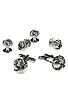 Silver Love Knots Studs & Cufflinks Set