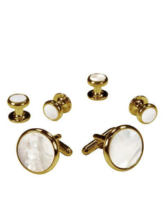 White Mother of Pearl in Gold Setting Studs & Cufflinks Set