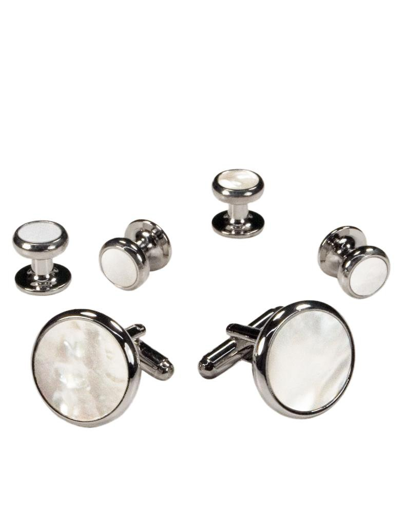 White Mother of Pearl in Silver Setting Studs & Cufflinks Set