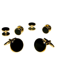 Black Circular Enamel in Gold Setting Studs & Cufflinks Set
