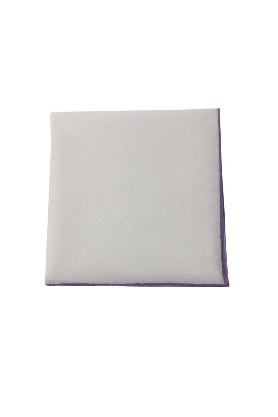 White Cotton with Lavender Border Pocket Square