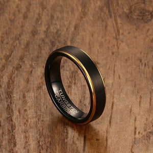 Black & Gold Tungsten Wedding Ring for Men: Get Married in Style!