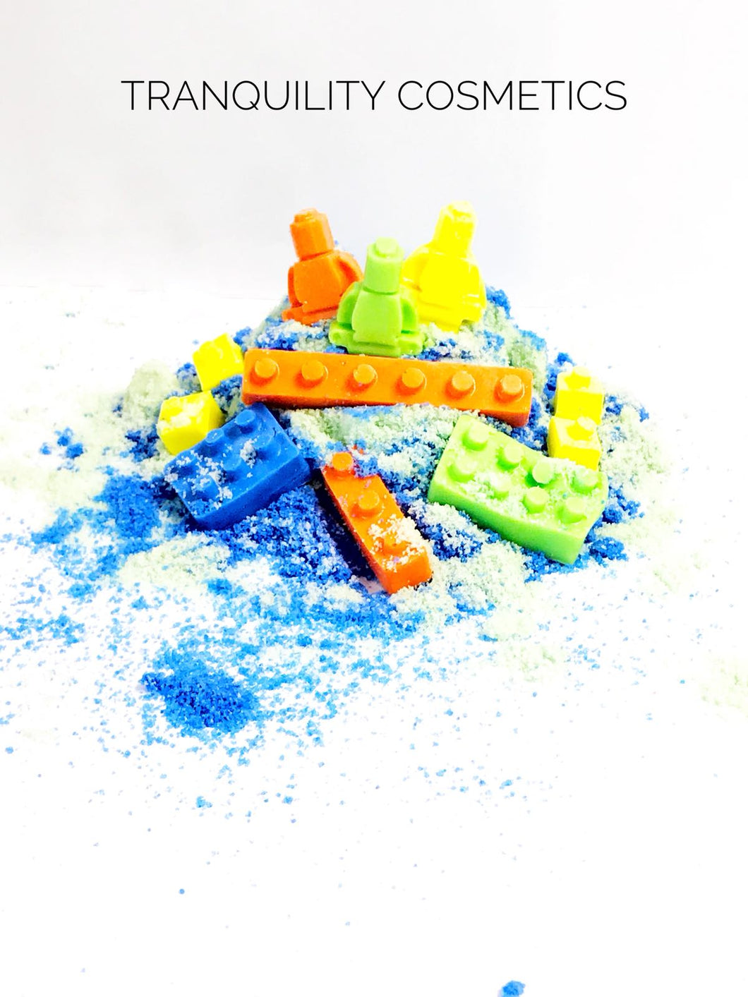 BLUE Bath Dust with Lego soap pieces