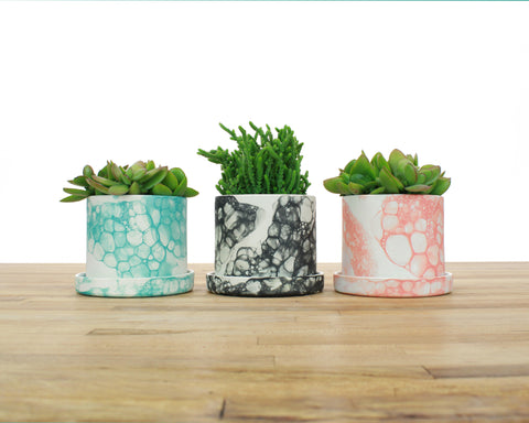 4 inch Bubble Glaze Cylinder Planter with Saucer