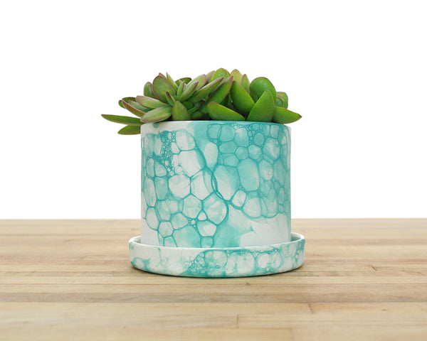 4 inch Bubble Glaze Cylinder Planter with or without Saucer