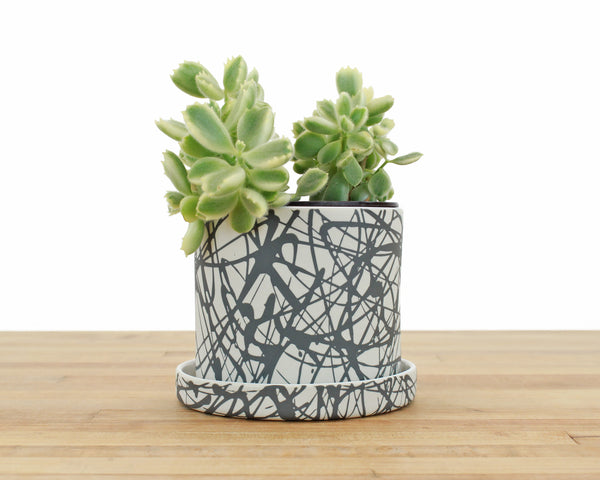 4 inch Cylinder Planter with Saucer - Charcoal Splatter