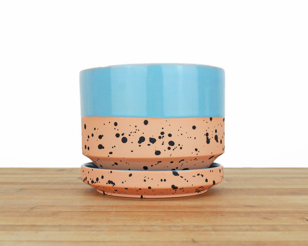 6 inch Cylinder Planter - Dipped and Dotted Blue over Orange
