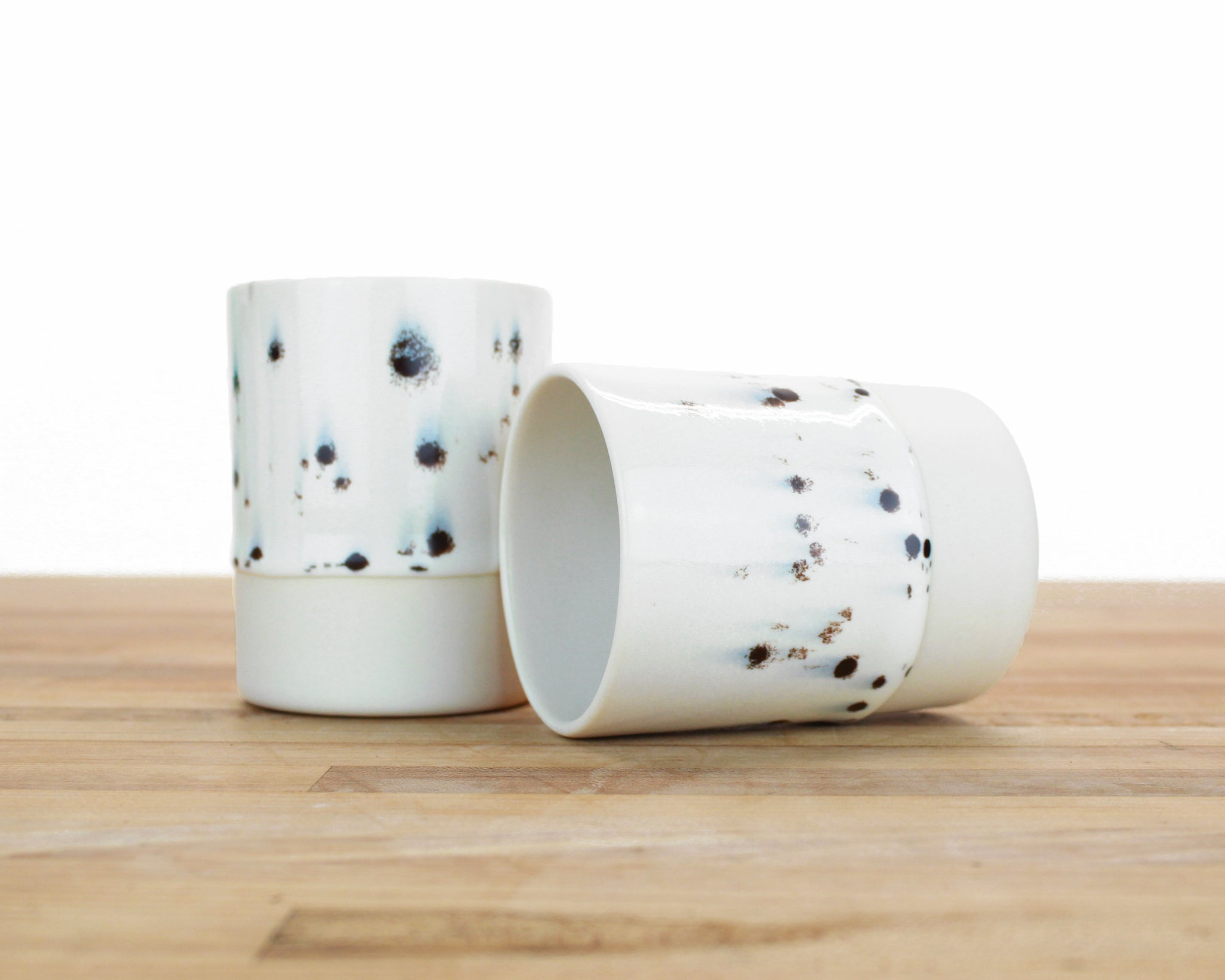 Seconds - Extra Drippy Black Spotted Glaze Cup