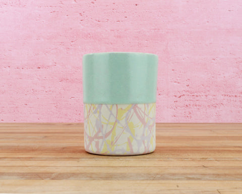 Limited Edition 8 Ounce Cup - Mint Glaze over Lavender/Blush/Yellow/Cream Splatter